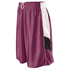 Buy Augusta Girls Tri-Color Dazzle Basketball Short MAROON  WHITE  BLACK YL by Augusta