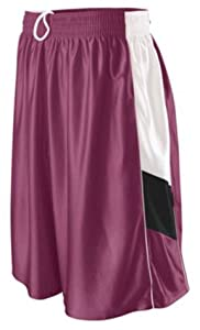 Buy Augusta Girls Tri-Color Dazzle Basketball Short MAROON  WHITE  BLACK YM by Augusta
