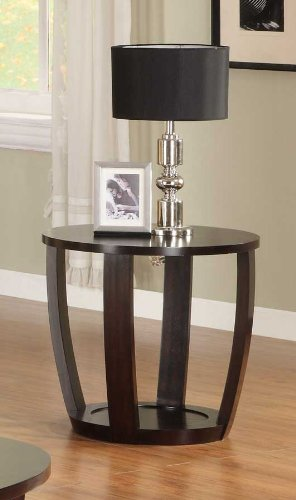 Image of Homelegance Patterson Round Wood End Table in Espresso (3296-04)