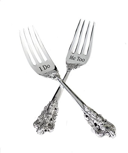 Lillian Rose K522 ID I Do and Me Too 2 Forks, 6.5-Inch, Silver