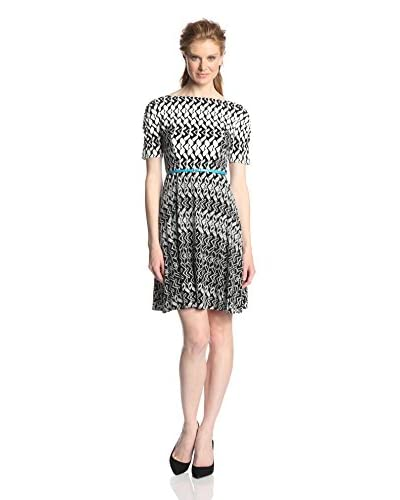 Donna Morgan Women's Fit and Flare Belted Printed Dress