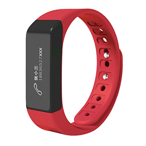 007plus T5 Plus Fitness Tracker Health Sleep Monitor Pedometer Activity Tracker Wristband,Chinese Red
