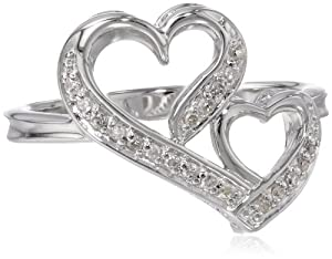 Sterling Silver 1/10 ct. t.w. Double Heart Diamond Ring, Size 6