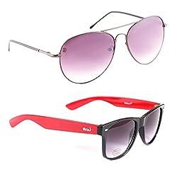Elligator Stylish Spartiate Purple And Red Wayfarer Sunglasses Combo ( Set of 2 )