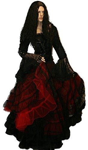 Dark Dreams Gothic Mittelalter LARP Tüll-Rock Black Magic freesize, Farbe:schwarz/rot hier kaufen