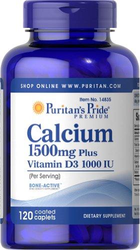Puritan'S Pride Calcium 1500 Mg With Vitamin D 1000 Iu-120 Coated Caplets
