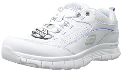 Skechers for Work Women's Flex Fit SR Work Shoe,White/Blue,6 M US