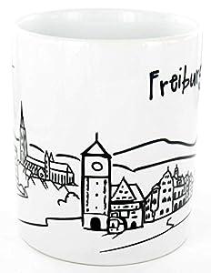 """Keramiktasse """"Skyline Freiburg"""" - als Geschenk für Breisgauer & Fans der Stadt am Fuss des Schwarzwalds oder als Freiburg Souvenir - die stadtmeister"""