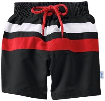 i play. Baby-Boys Infant Ultimate Swim Diaper Block Boardshort, Black/Red, 3T