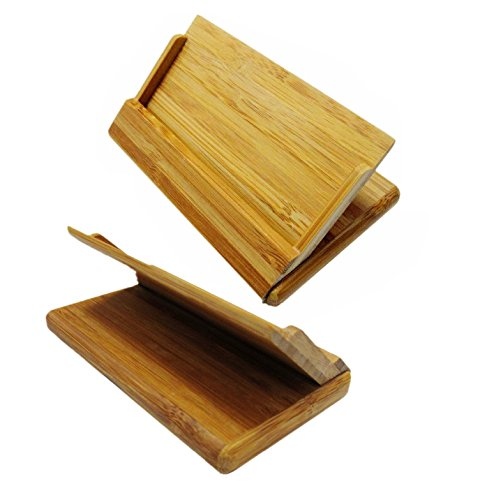 FlyStone Bamboo Business Card Case Holder Stand With Round