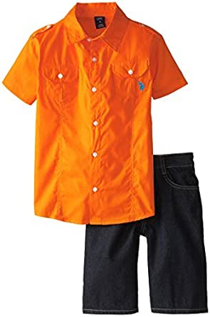 U.S. Polo Assn. Big Boys' Sport Shirt and Denim Short Set
