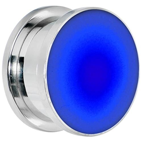 """Bodfx Blue Led Lighted Ear Stretching Tunnels / Plugs. Gauges - 1 Pair. (3/4"""")"""