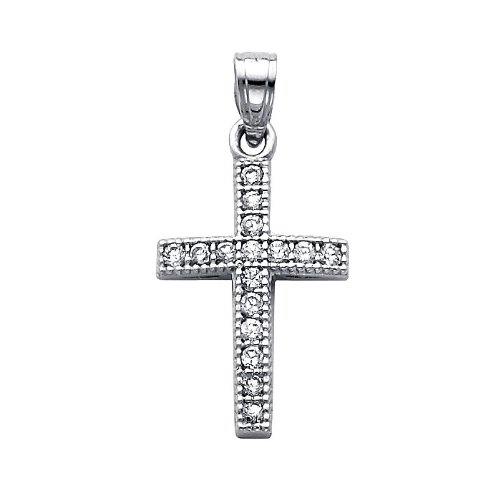 14K White Gold CZ Cubic Zirconia Cross Charm Pendant with White Gold 0.9mm Snail Link Chain Necklace with Spring Ring Clasp - Pendant Necklace Combination (Different Chain Lengths Available)