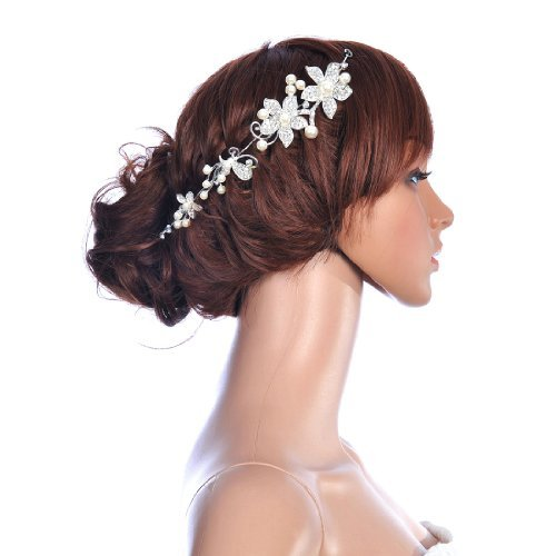 Topwedding Rhinestone Crystal Flower Bridal Wedding Headband Tiara