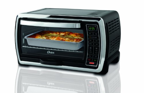 Oster Large Capacity Countertop 6-Slice Digital Convection Toaster Oven, Black/Polished Stainless, TSSTTVMNDG (Small Convection Toaster Oven compare prices)