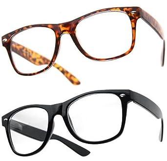 PIPEL© - Lot de 2 Paires de Lunettes Monture style Wayfarer Homme Femme Mixte Geek Retro Vintage 80's - Monture Noir + Ecaille marron - Verre Neutre Transparent - Fashion Tendance