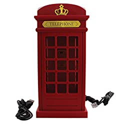 Telephone Booth London Design Corded Landline Telephone - Red - Novelty Home Decor Creative Fixed Line Phone