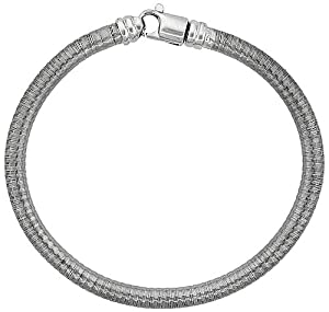 Sterling Silver Round Textured Flexible Bracelet 5mm wide, 7.5 inches long