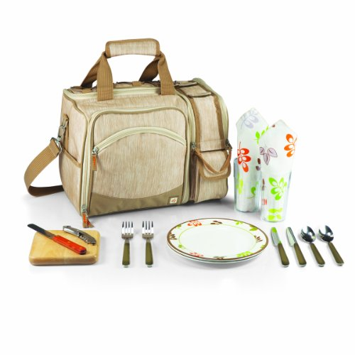 Buy Bargain Picnic Time Malibu Insulated Shoulder Pack with Deluxe Picnic Service for 2, Botanica
