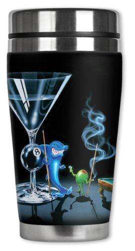 Mugzie® Brand 16-Ounce Travel Mug With Insulated Wetsuit Cover - Michael Godard: Pool Shark