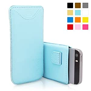 iPhone 5 / iPhone 5S Case, SnuggTM - Baby Blue Leather Pouch Cover with Card Slot & Soft Premium Nubuck Fibre Interior - Protective Apple iPhone 5S Sleeve Case - Includes Lifetime Guarantee