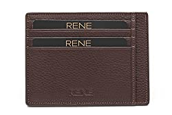 Rene Genuine Leather Brown Color Card Holder with 6 slots