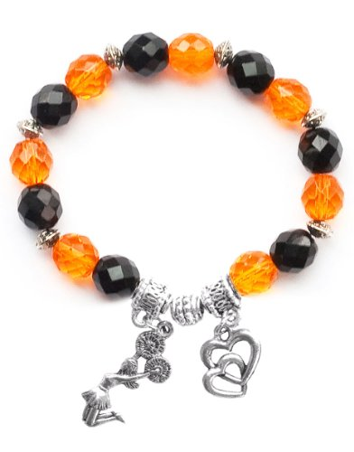 """Jumping Cheerleader"" Girls Cheerleading Bracelet (Team Colors Orange & Black)-Medium"