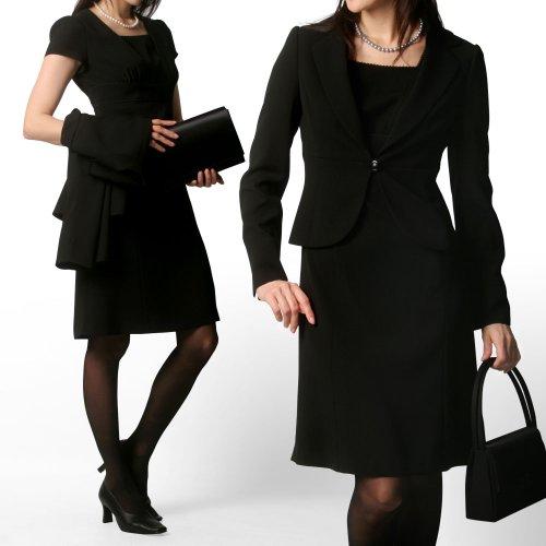(エイメル) Amel 喪服 ブラックフォーマル用エンパイアワンピース+テーラードジャケット