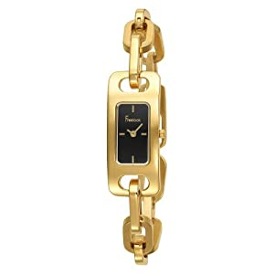 Freelook Women's HA1007G-1 Linea Tempo Yellow Gold Plated Stainless Steel Black Dial Watch