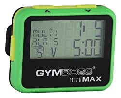 Gymboss miniMAX Interval Timer and Stopwatch - GREEN / YELLOW SOFTCOAT
