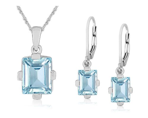Sterling Silver Blue Topaz Rectangular Lever Back Earrings and Pendant Necklace Set, 18