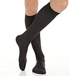 Pantherella OTC Merino Wool Dress Socks - 5x3 Rib (6796) Regular/Dark Grey