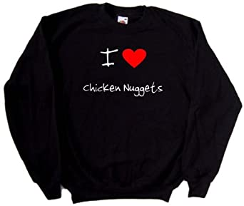 I Love Heart Chicken Nuggets Black Sweatshirt by Unknown