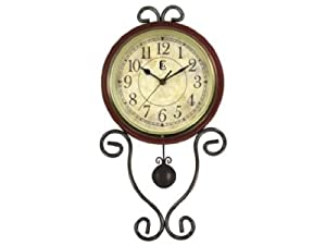 Geneva Wrought Iron Pendulum Wall Clock, Brown