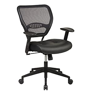 Office Star Space Professional Air Grid Back Managers Chair with Leather Seat and 2-to-1 Synchro Tilt Control