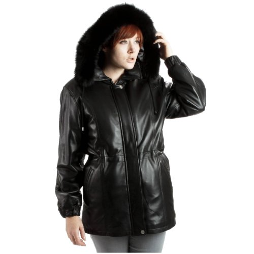 United Face Womens Black Fox Fur Trim Hooded Leather Coat, Black, Medium