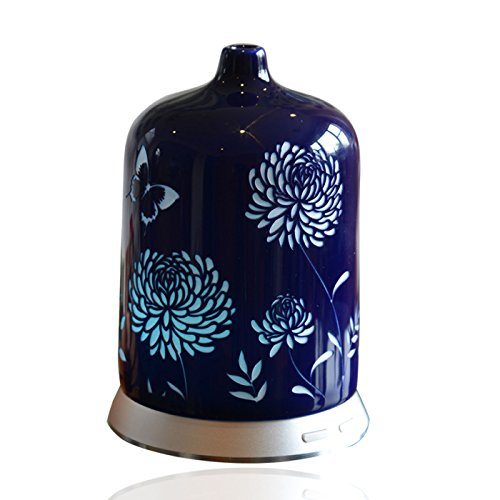 Smiley Daisy Aromatherapy Essential Oil Diffuser - Quiet Electric Ultrasonic With Beautiful Handcrafted Porcelain Cover - Continuous and Intermittent Mist With LED Light - 100 ML (Sapphire Blue) (Daisy Humidifier compare prices)