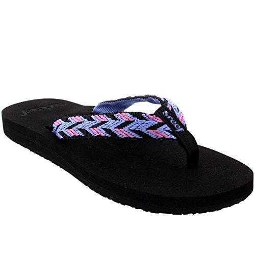 Womens Reef Mid Seas Vacation Casual Slip On Beach Flip Flops Sandals - Black/Blue - 7 front-807857
