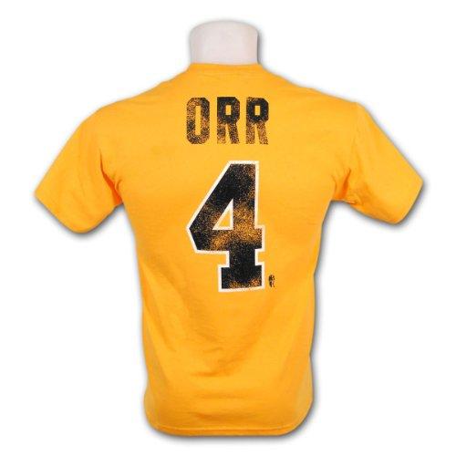Boston bruins bobby orr vintage nhl alumni t shirt gold for Boston bruins vintage shirt