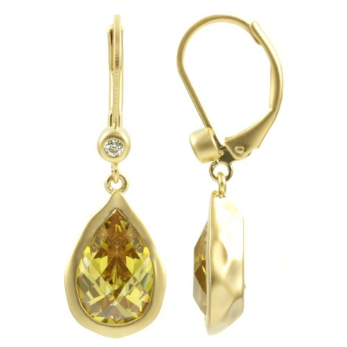 Kate Middleton Inspired Pear Drop Canary CZ Earring - Gold Tone
