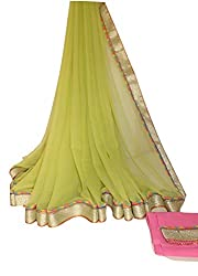 KC Latest Saree Designer Light Weight Chiffon with New Border Saree with Pink Blouse On Sale