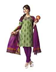 Karishma Suit - FREE Maybelline Colossal Kajal MRP 199 - S Green-Purple Printed Pure Cotton Unstiched Salwar Suit...