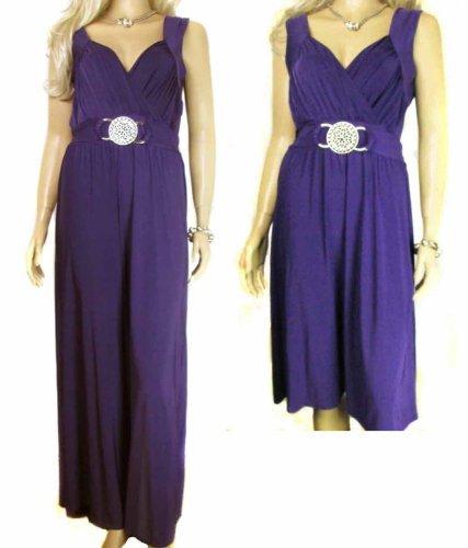 Ladies Rich Purple Grecian Wrap Kneelength Slinky Dress Or Long Maxi ...