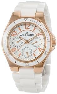 Anne Klein Women's 10/9862RGWT Rosegold-Tone Multi-Function White Ceramic Bracelet Watch
