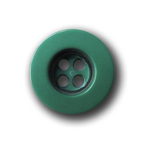 Knopfparadies - 20er Set kleine mittelgrün schwarze Vierloch Blusen-, Hemden- oder Puppenknöpfe / Blusenknöpfe / dunkelgrün & schwarz / Kunststoff / Ø ca. 11mm
