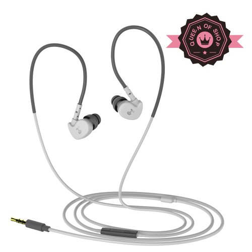 Queen Sanke V7 White Hifi Microphone Wired Running Sport Waterproof Mp3 In Ear Headphones