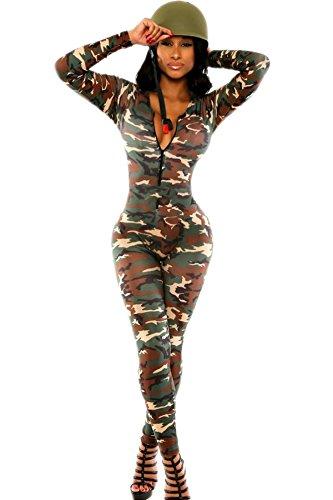 Toocool - Overall donna tutina jumpsuit MILITARE camouflage abito mimetico nuovo DL-1527[mimetico,M]