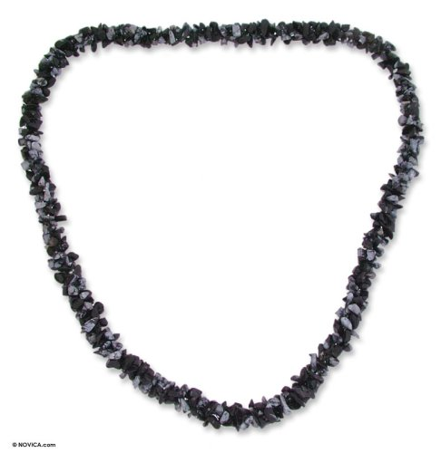 Snowflake obsidian long necklace, 'Winter Night' 0.4