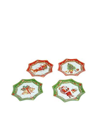 Set Plato De Postre 4 Uds. Navidad Rojo/Verde