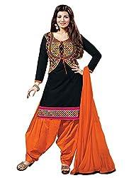 Zbuy Black Cotton Embroidered Unstitched Salwar Suit Dress Material
